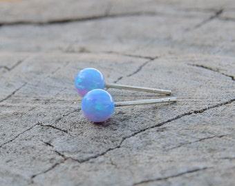 Opal studs, classic 4mm sterling silver Studs, Blue Opal ball stud earrings silver Opal Posts, minimal earrings October Birthstone