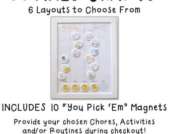 Chore Chart - Magnetic Jobs Chart - Kids Morning Routine - Evening Jobs - Child Routine Chart - Magnetic Chart - Chore Magnets