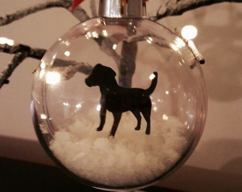 Jack Russell Terrier Silhouette in the Snow Pet Bauble