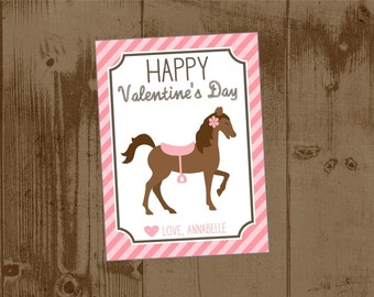 Printable Personalized  Valentine's Day Cards -Pink Horse Pony