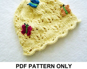 Knitting Pattern - Butterfly Hat Pattern - the DIANA Hat (Newborn, Baby, Toddler, Child & Adult sizes incl'd)