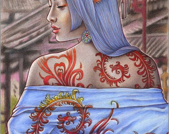Adorned - original colored pencil drawing