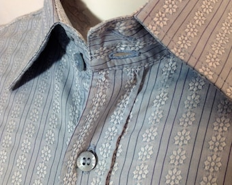 Beautiful Ted Baker casual shirt - pale blue with pinstripe and floral design in 100% cotton