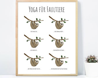 Yoga for sloths-art print Janette, poster-premium quality 170g-Close Up ®-(30 x 40 cm)