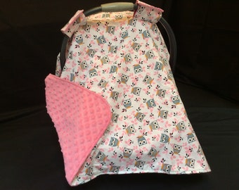 Car Seat Canopy/ Owls, Pink, Gray, White, Infant car seat cover
