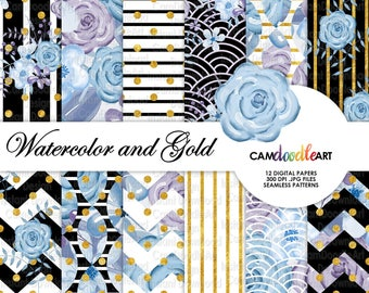 Watercolor Floral Digital Paper Pack,Blue and Purple, Black White & Gold, Romantic Paper Pattern,Scrapbooking Paper,Watercolor Flowers
