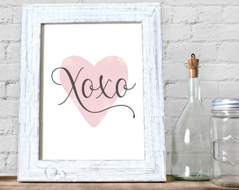 xoxo Valentine Card & Print printable • Pink Heart Love Decor • Anniversary Wedding engagement Gift