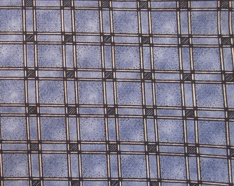 Denim Blue Trellis Check Semi Plain Cotton Fat Quarter
