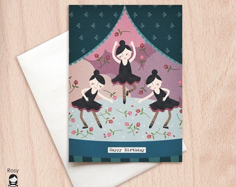 Happy Birthday Ballerinas - Best Friends, Sisters, Group Birthday - Birthday Greeting Card