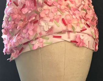 Christian Dior Cloche Hat 1960s / Pink Beaded Turban Style Cloche with Beautiful Flowers in Near New Condition Made in Paris