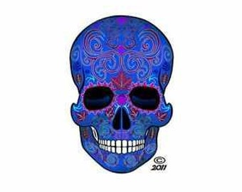Blue Sugar Skull Stickers for Dia de los Muertos -2 pack of stickers!