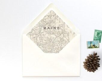 Maine Vintage Map A7 Envelope Liner