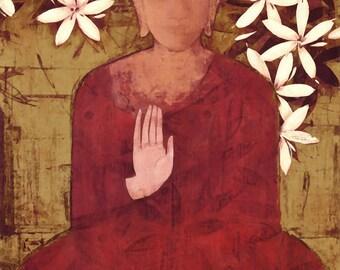 Buddha Spiritual Icon Art Tile Wall Hanging