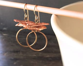 Caicos Dangle Earrings with Cinnamon Stick Pearls and Bright Brass Rings