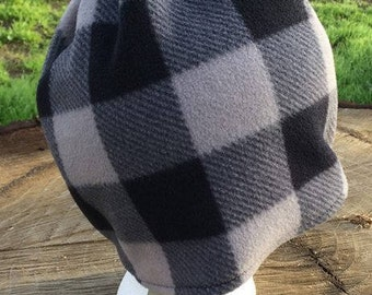 Gray Plaid Fleece Beanie 2-5 years