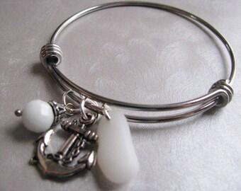 Rare White Milk Glass - Sea Glass Adjustable Bangle Bracelet - Stainless Steel Bracelet - Expandable Bracelet - Wire Bracelet -Ocean Jewelry