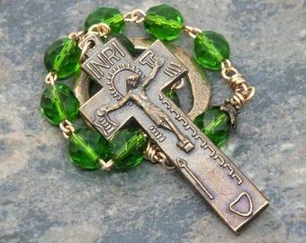 Czech Glass Irish Penal Rosary in Fern Green and Bronze; Irish Penal Chaplet; Tenner Chaplet; 1 Decade Chaplet; Finger Rosary