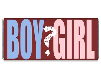 Set of 12 - Gender Reveal Candy Bar Wrappers - Gender Reveal Baby Shower Favors - Gender Reveal Favors - #IDGBS408