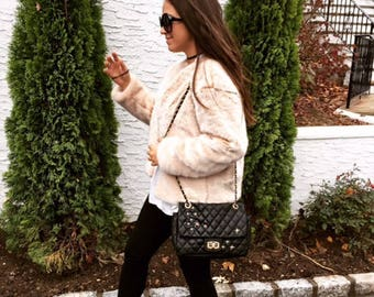 Blush Faux Sable Fur Coat Lauren Tormenta
