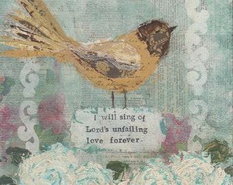 art print-yellow bird, sing of the Lord's love, mixed media art, 8x10, scripture art