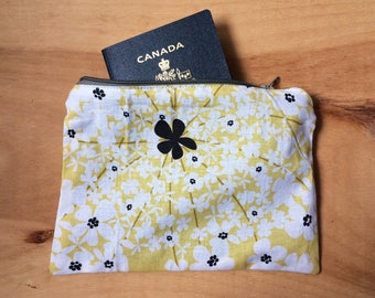 Yellow Floral Fabric Pouch - Cosmetics Makeup Bag - Travel Pouch - Clutch Purse - Modern Flowers - Bag Organizer - Phone Pouch