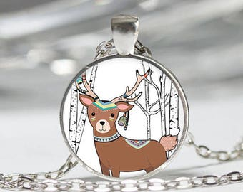 Deer glass cabochon and chain necklace