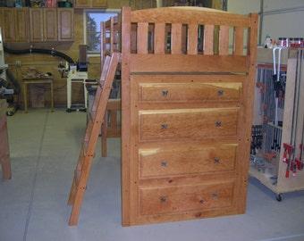 Custom Black Cherry loft bed with built in dresser.