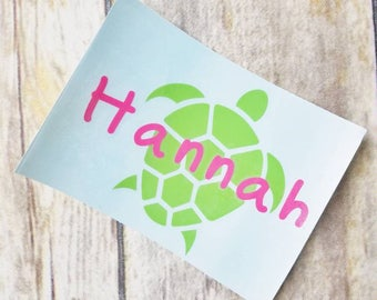 Monogrammed Sea Turtle Decal, Personalized Turtle Sticker, Turtle with Name, Beach Sea Ocean Sticker, Beachy Decal, Sea Turtle, Beach Gift