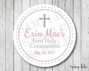 Small Cross Personalized First Holy Communion Stickers, Communion Tags or Labels