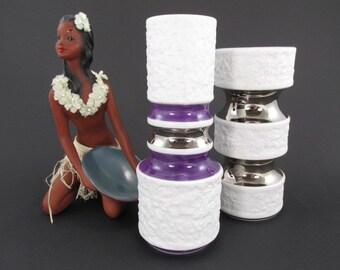 2 vintage vase bisque porcelain vases by KPM, white, silver, purple, Op-Art, bisque, model 599 1 and 635 1 | WGP | 70s