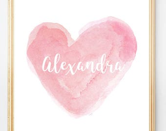 Personalized Baby Gift, Pink Nursery Art, Personalized 8x10 Print, Baby Girl Gift, Pink Watercolor Print, Baby Girl Nursery, Girls Wall Art