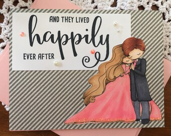happily ever after wedding card handmade, wedding card bride groom