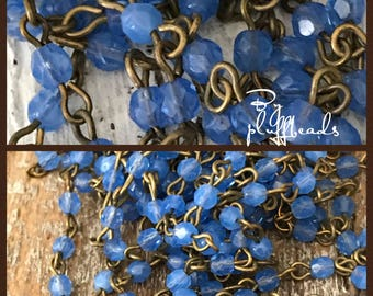 BC224 Chain Handcrafted USA Linked Beaded Chain Milk glass French Periwinkle blue 4mm Faceted European Glass Beads