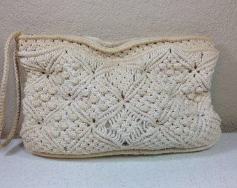 Vintage Cream Macrame Knit Clutch Handbag with Optional Handle 7.5 Inches Tall 11.5 Inches Wide Previously 15 Dollars ON SALE