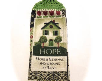 Hope House Hand Towel With Grass Green Crocheted Top
