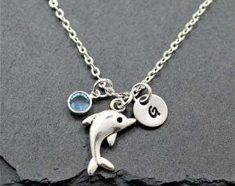 Silver Dolphin Necklace for Women & Girls - Personalized - Nautical Themed Gift Idea - Dolphin Lover Jewelry -  Beach Themed Ocean Related