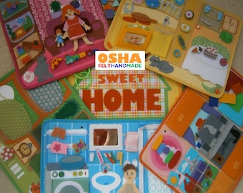 Dollhouse quiet book pages 2 dolls Pretend play Travel toy Busy book Toddler book Montessori Felt toys Toddler toy Felt book Toddler gift