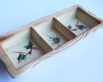 Mid Century Divided Pottery Dish ~  Vintage Lane & Co. Pottery ~ Veggie / Crudite Serving Tray ~ Van Nuys California Pottery