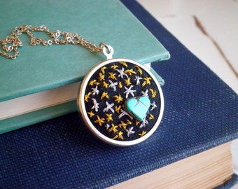 Silver & Gold Stars Turquoise Blue Heart Necklace - Embroidered Bohemian Cosmic Love Night Sky Star Necklace - Modern Celestial Jewelry Gift
