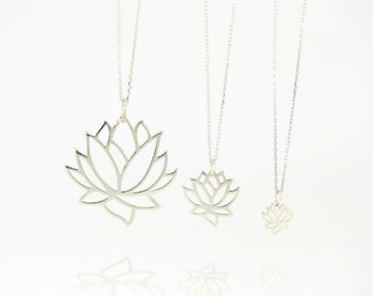 Lotus Flower Necklace, Sterling Silver, Small Lotus, Medium Lotus, Large Lotus, Lotus Jewelry
