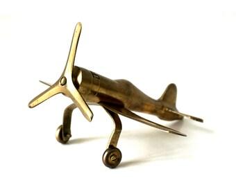 Vintage Brass - Airplane - 1970's - Brass Ornament - Mid Century - Desk Ornament - Airplane Ornament - Metal Airplane