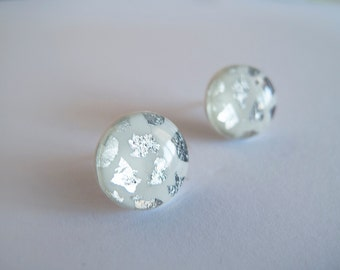 White & Silver Round Stud Earrings - Hypoallergenic Surgical Steel Post