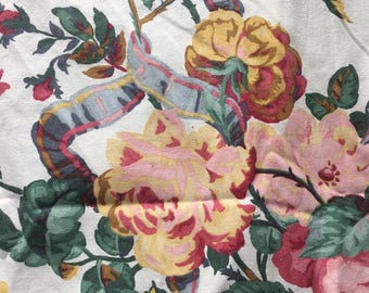 """Vintage Large Scale Floral Cotton Decorator Fabric Curtain Panel // 56x62"""" > adjustable width > Made in UK"""
