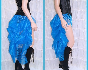 Shimmery Turquoise Blue Lace Bustle Wrap MTCoffinz - All Adult Sizes - Ready to Ship