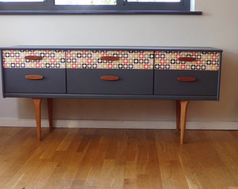 60's inspired Mid Century sideboard in grey with Orla Kiely retro paper