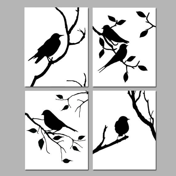 Bird decor bird wall art bird art bird prints set of 4 birds