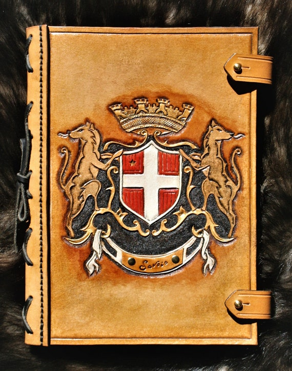 Leather bookcover, journal, carved leather, Savoie arms, heraldry, France