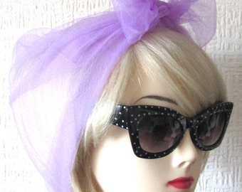 Chiffon Scarf in Lilac Vintage Nylon very Rockabilly, Pin Up. Deadstock 50s / 60s VLV