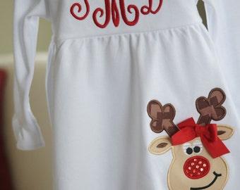 White Ruffle Monogram Dress with Rudolph Reindeer Applique - Holiday Red - Empire Waist - Child, Girls, Toddler, Baby