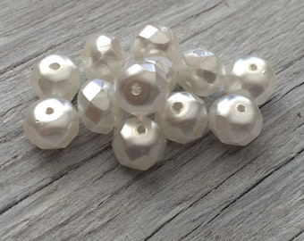 Glass Pearl Rondelle Beads- Czech glass beads - white pearl 8x6mm pack of 12 (R04)